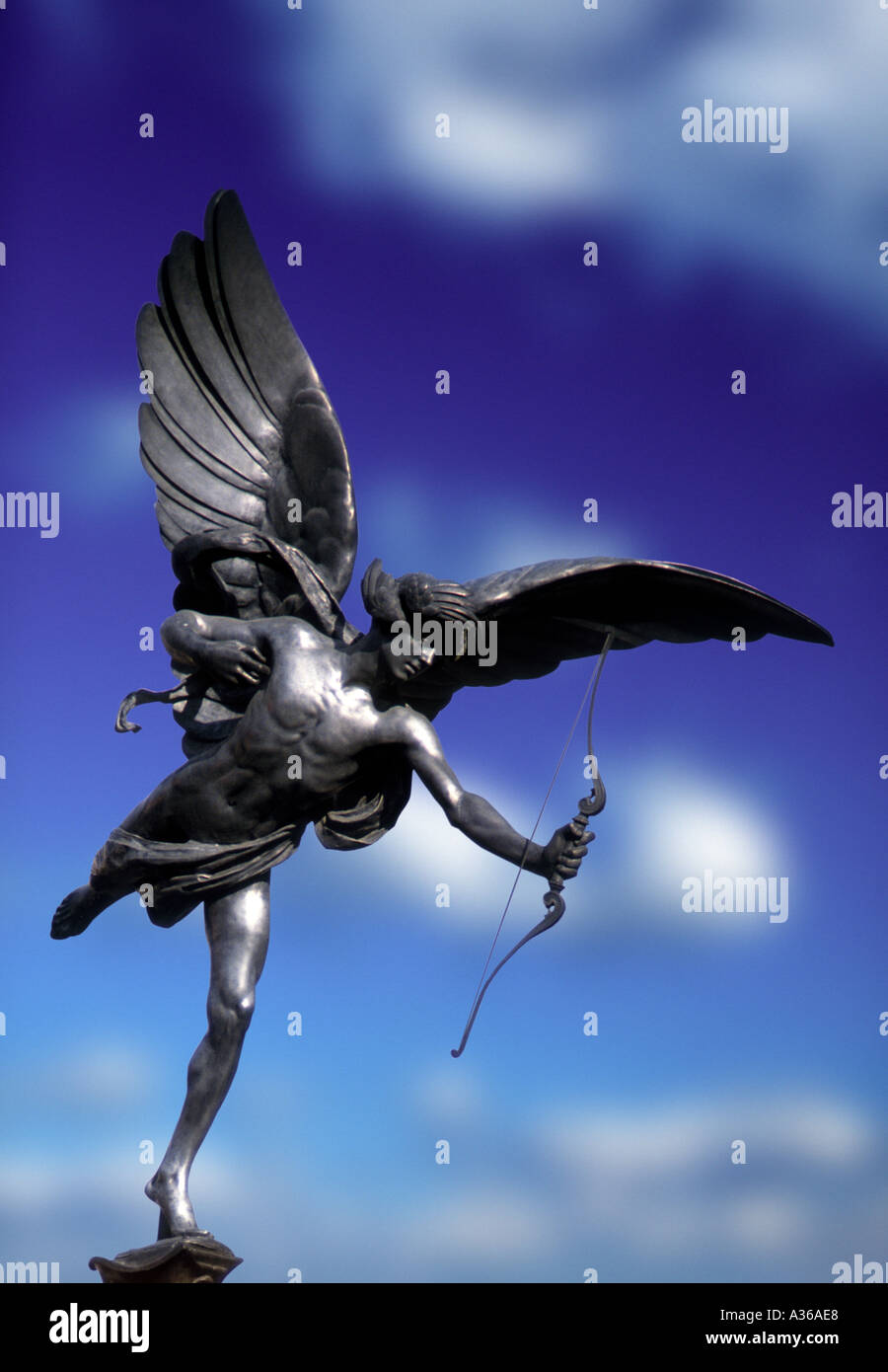 statue of Eros Piccadilly Circus London England - Stock Image