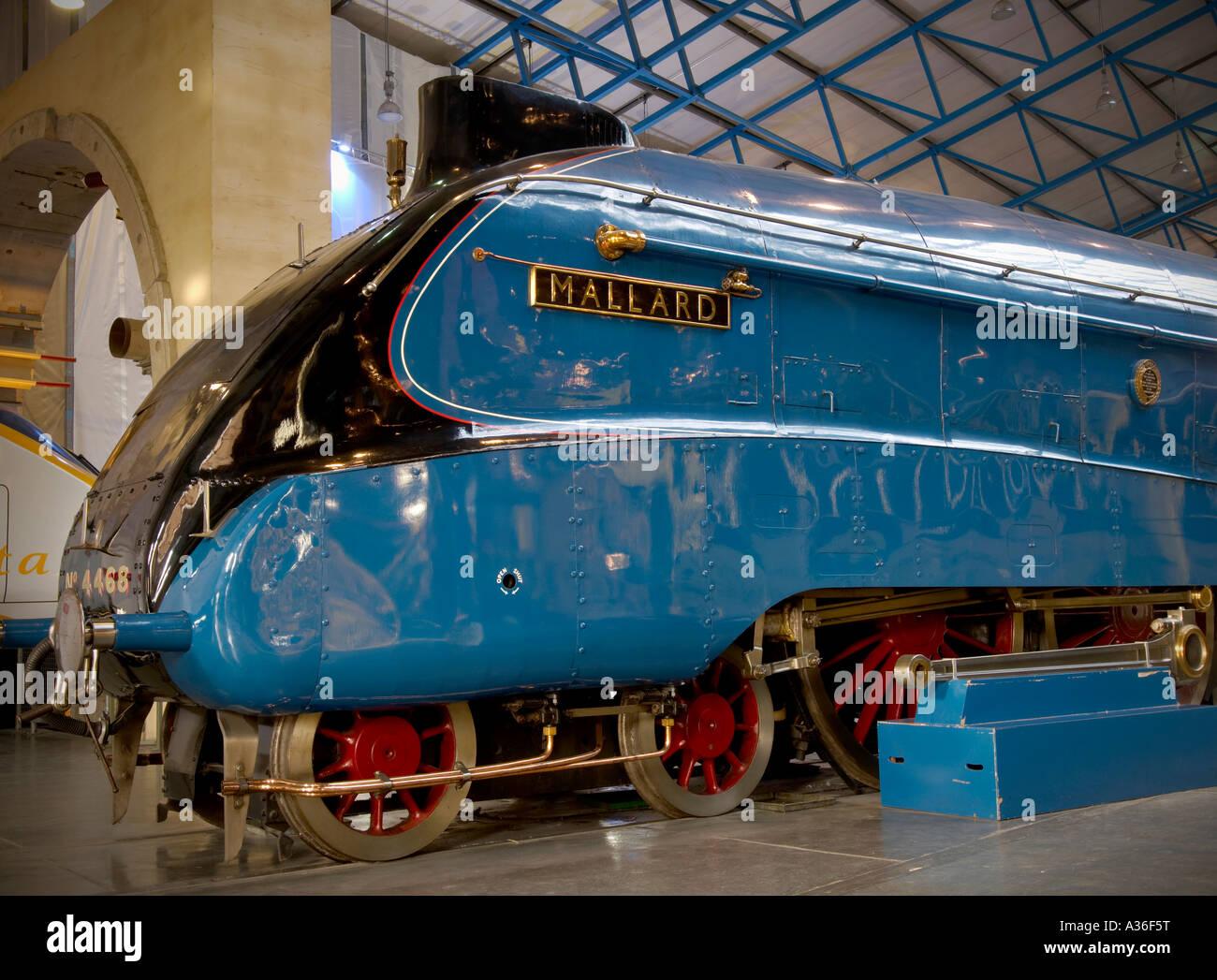 Horizontal photo of Mallard steam train at National Railway Museum York UK Holder of speed record in 1930s - Stock Image