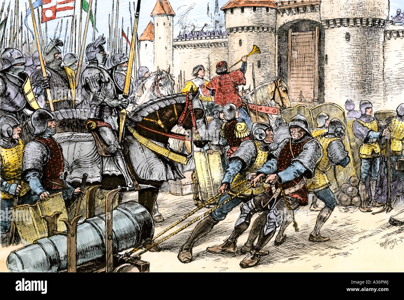 English army of Edward III attacking Calais during the Hundred Years War with France 1347. Hand-colored woodcut - Stock Image