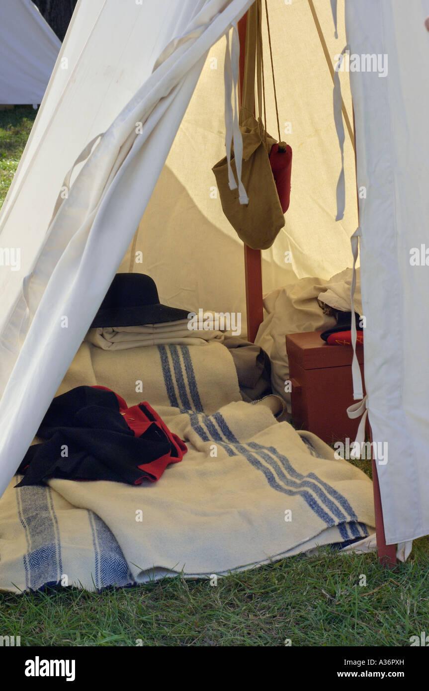 British army tent Revolutionary War reenactment at Yorktown