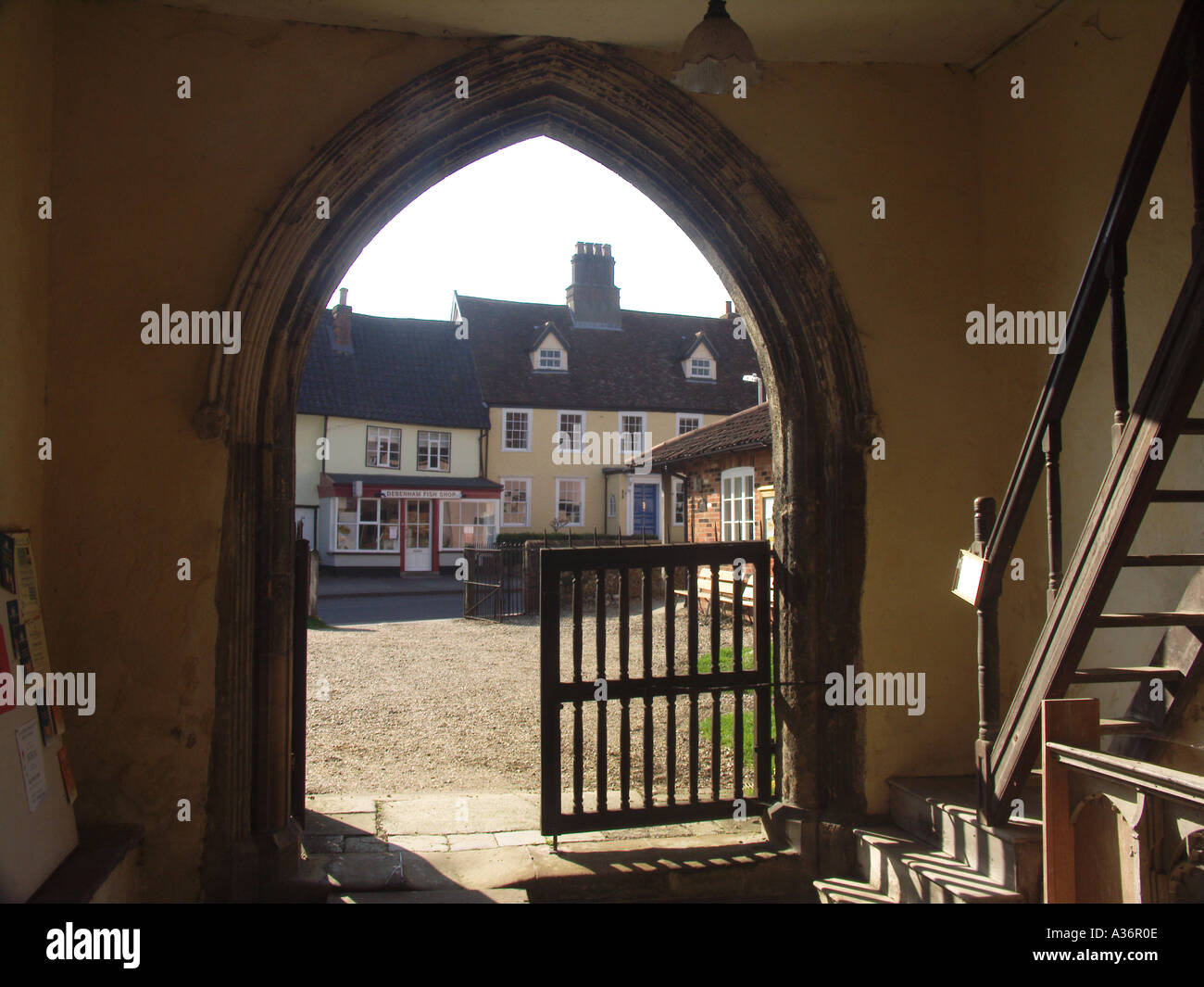 Debenham Suffolk from arched door of St Mary Magdelene church - Stock Image