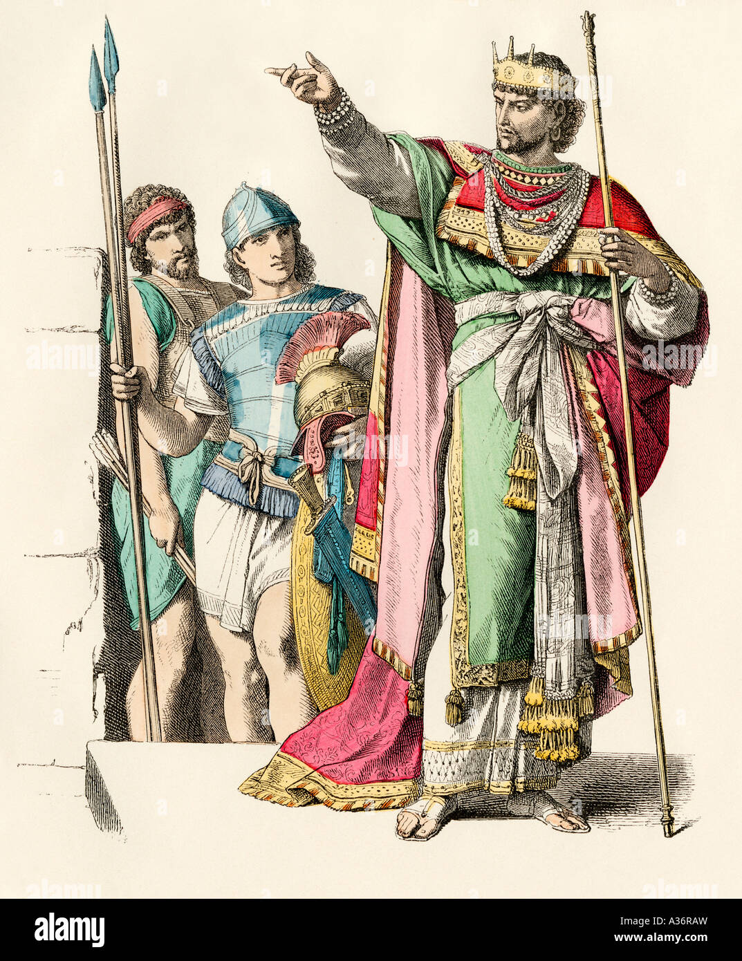 Ancient Hebrew warriors and king. Hand-colored print - Stock Image