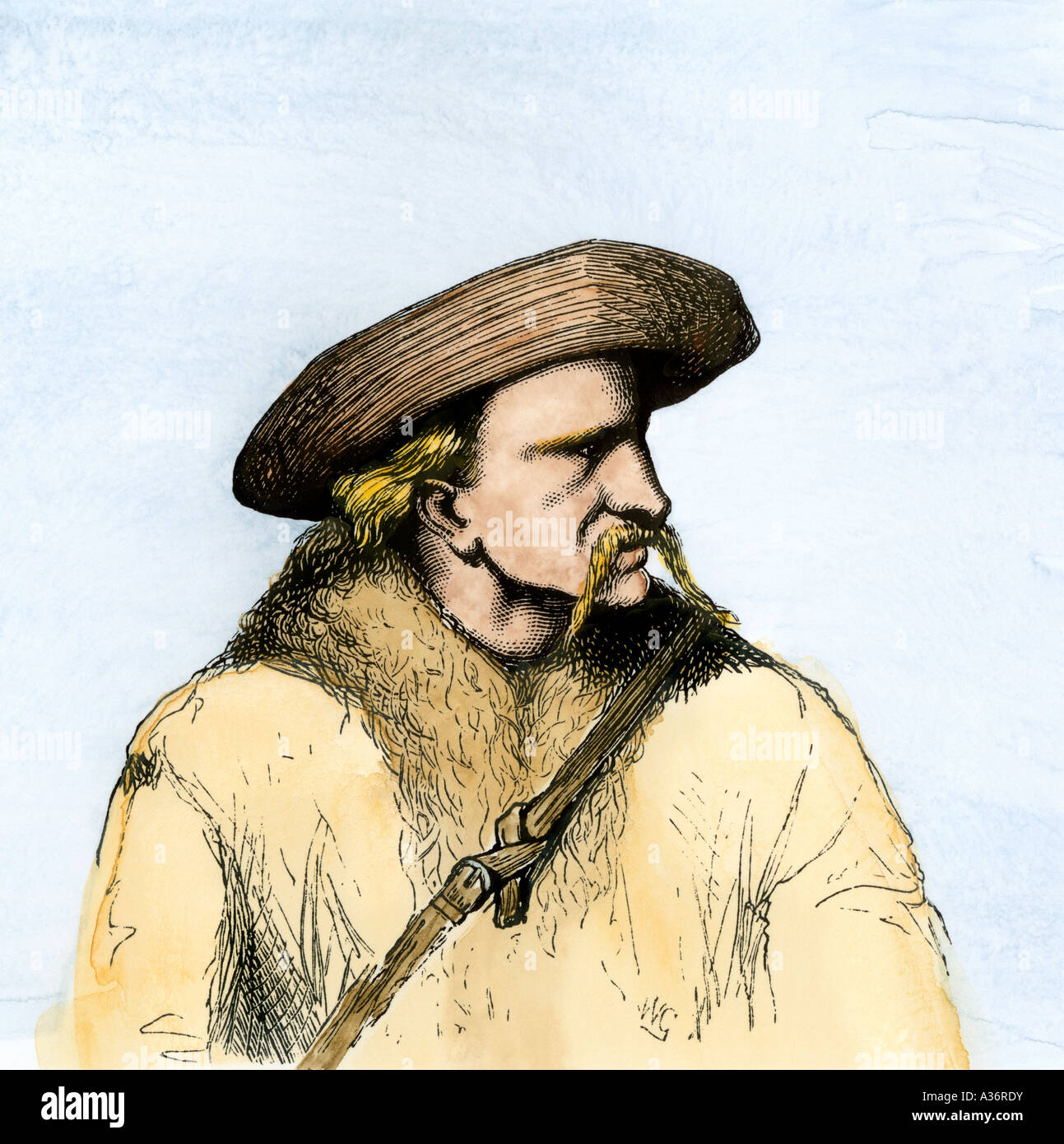 James Butler Hickok better known as Wild Bill Hickok. Hand-colored halftone of an illustration - Stock Image