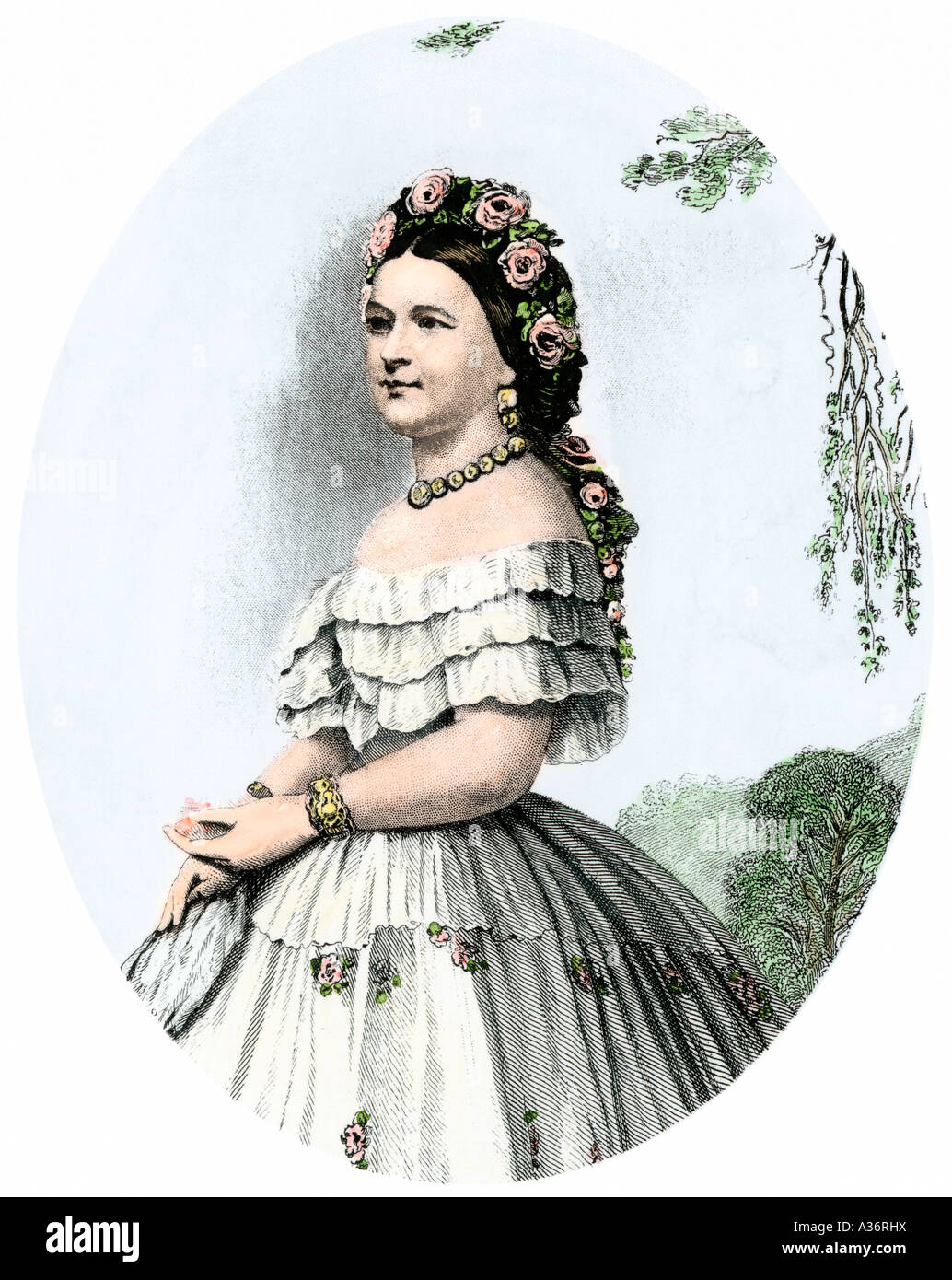 Mary Todd Lincoln wife of US President Abraham Lincoln. Hand-colored steel engraving - Stock Image