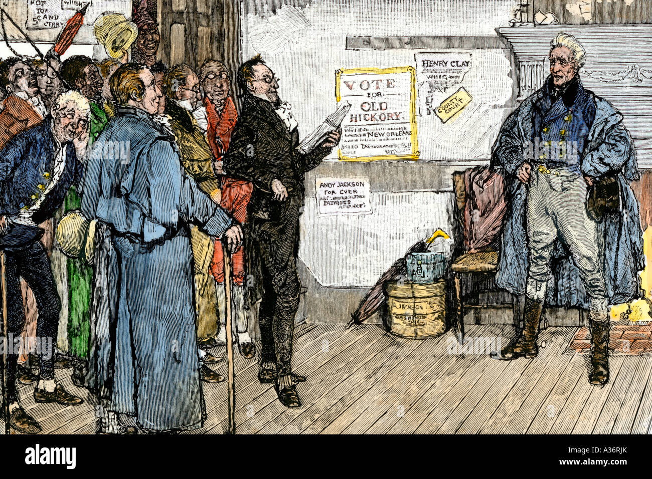 Citizen addressing Andrew Jackson during his presidential election campaign 1820s. Hand-colored woodcut - Stock Image