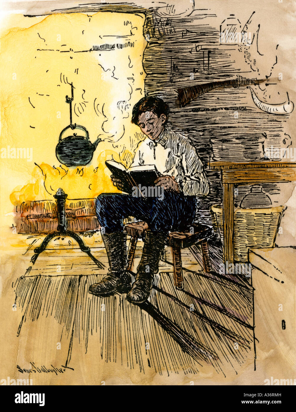 Abe Lincoln as a boy reading by firelight in his family ...