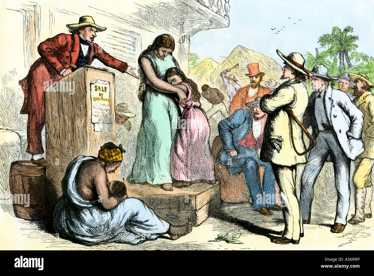 Slave mother and daughter on the auction block in the US South. Hand-colored woodcut - Stock Image