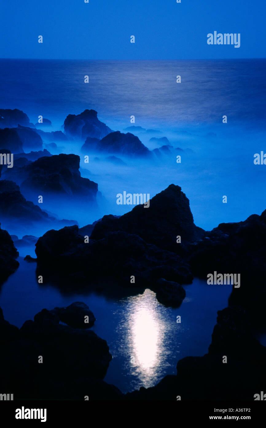Moonshine on Coast of San Miguel Island Azores - Stock Image