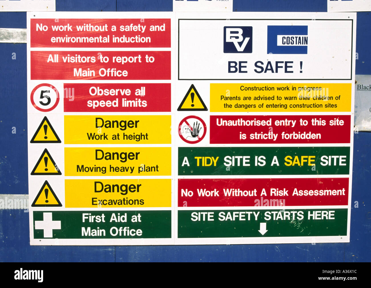 Construction site safety signs Stock Photo: 3490331 - Alamy