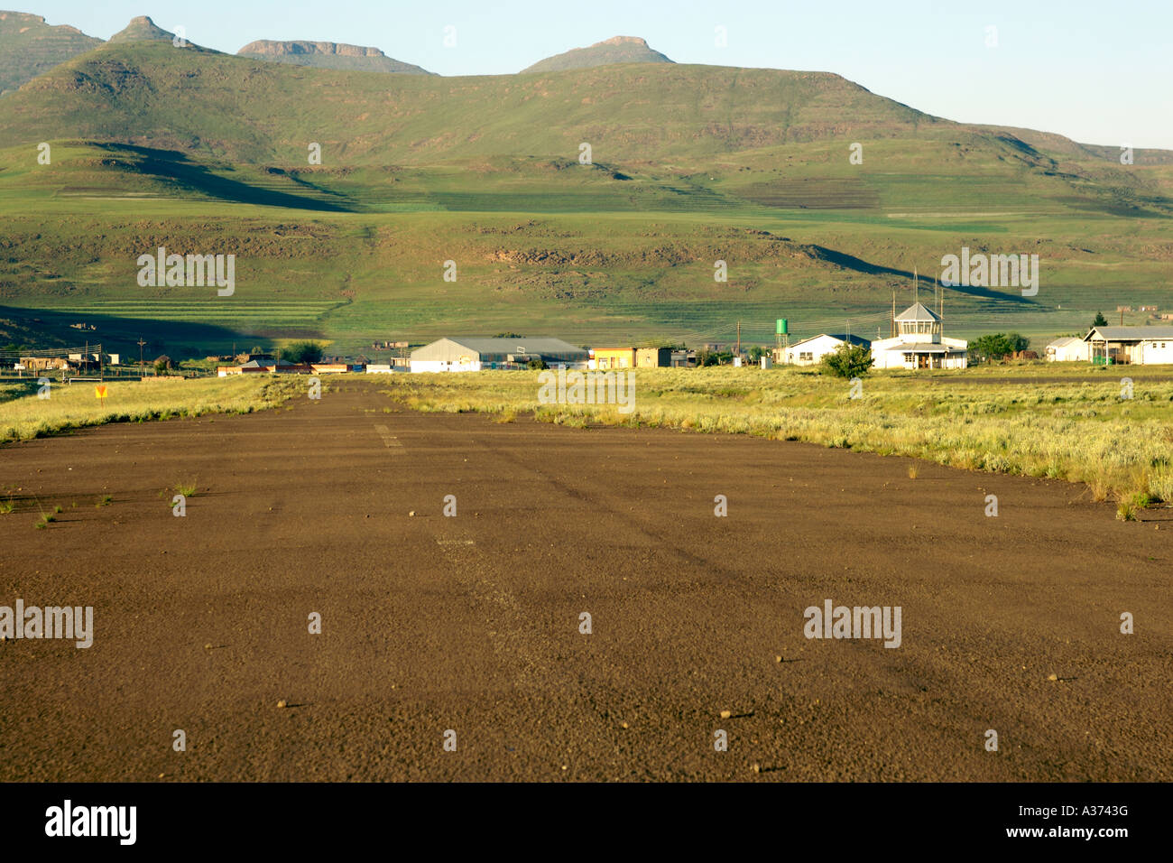 The airfield in the mountain village of Semonkong in Lesotho. - Stock Image