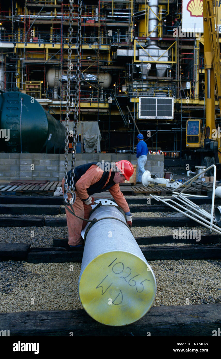 Building a North Sea offshore Oil drilling platform on Teeside, UK - Stock Image