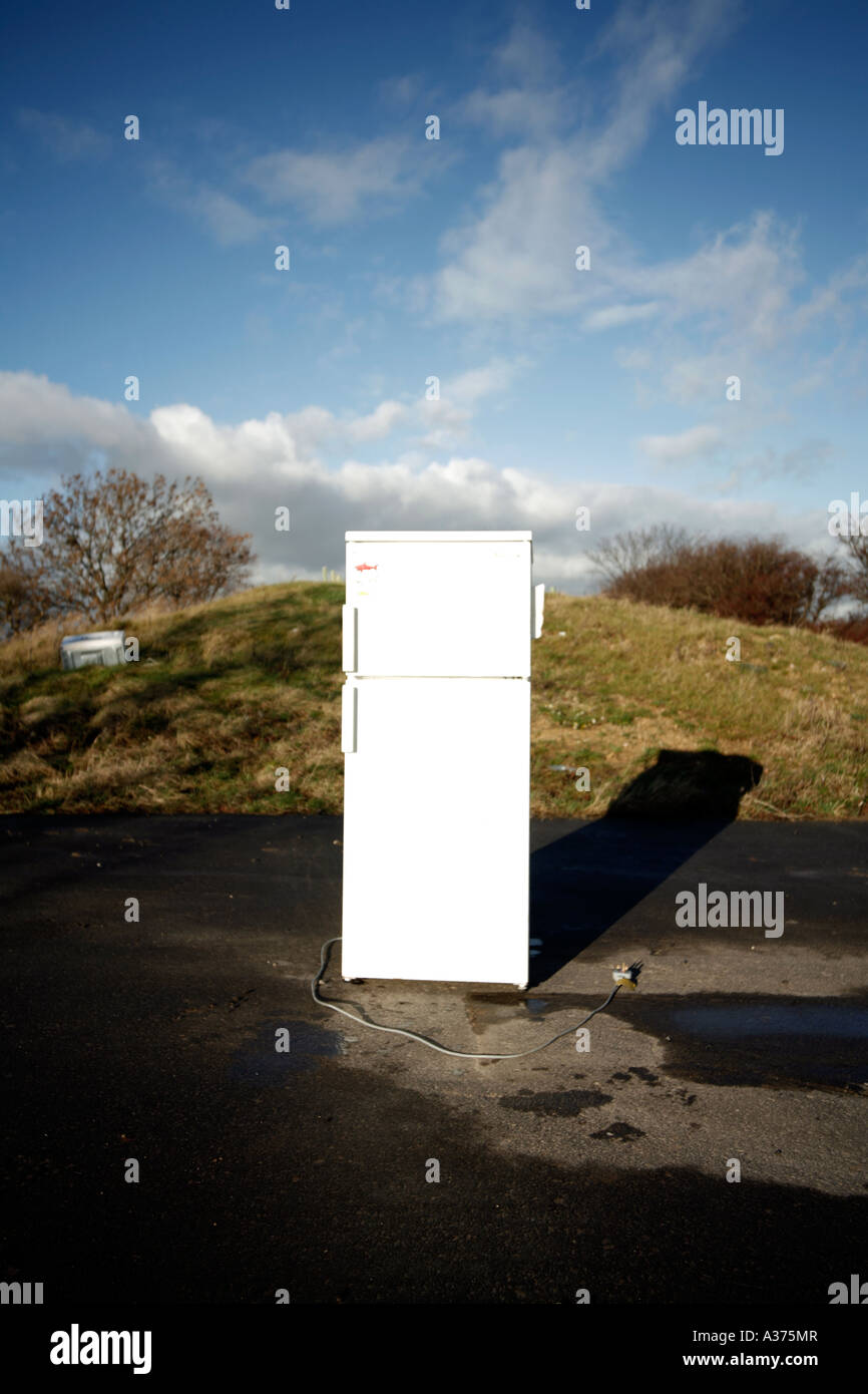 Dumped Fridge by Side of Road, West Yorkshire, England - Stock Image