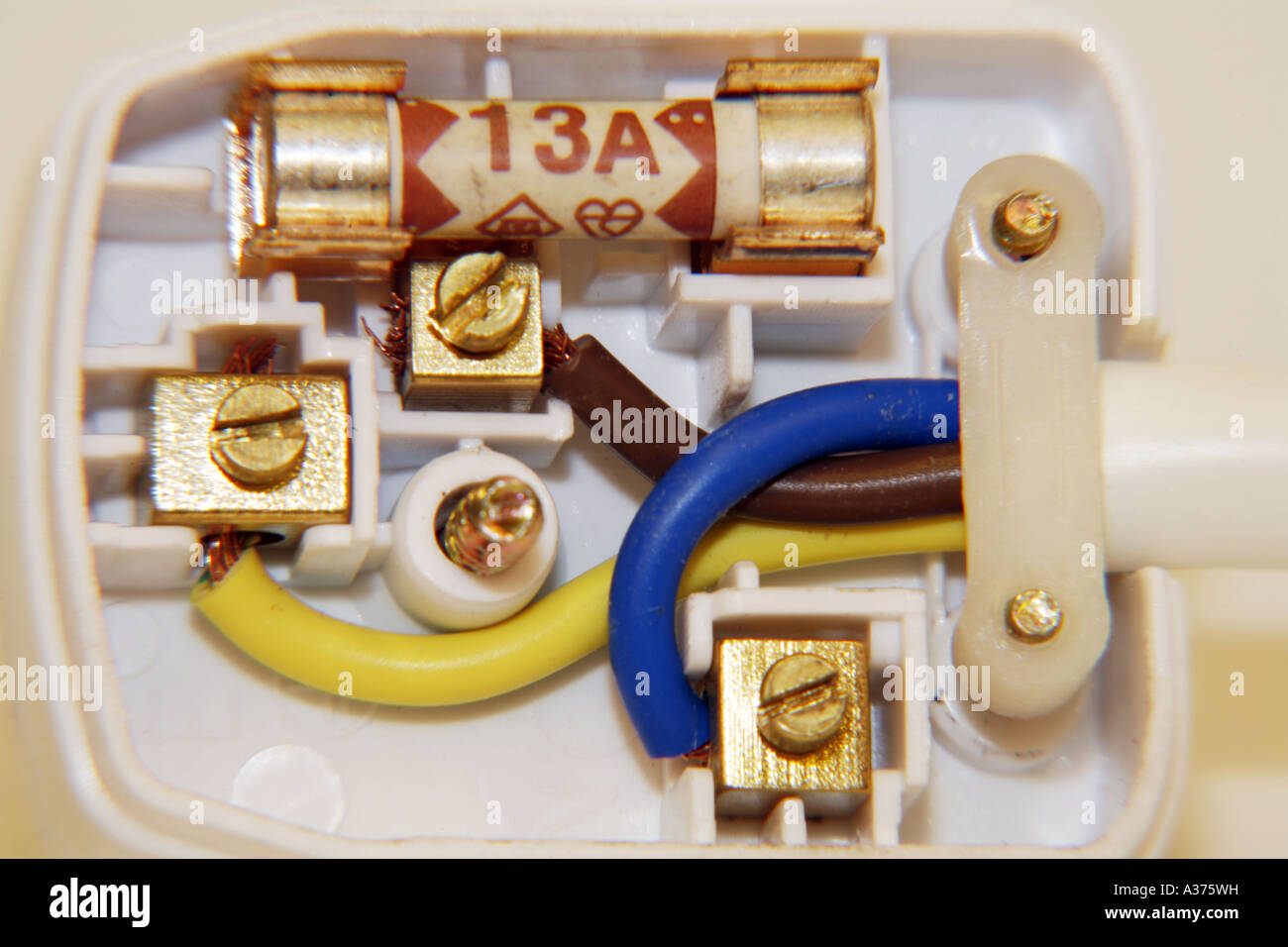 correctly wired uk three pin mains plug showing colour coded wires rh alamy com Black to Red White Black Wiring Telephone Wiring Junction Box Wiring Diagram Red Green Yellow Black