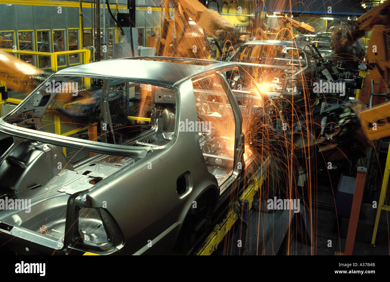 Spot welding robotics on assembly line at Saab Plant in Sweden Stock Photo