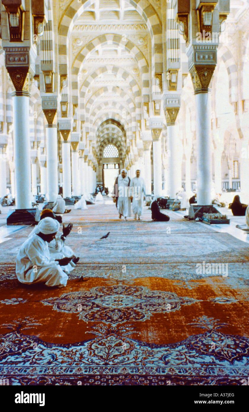 Madinah Saudi Arabia Prophets Mosque Interior - Stock Image