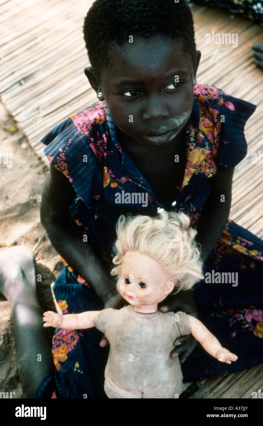 Southern Sudan Child Refugee With Doll - Stock Image