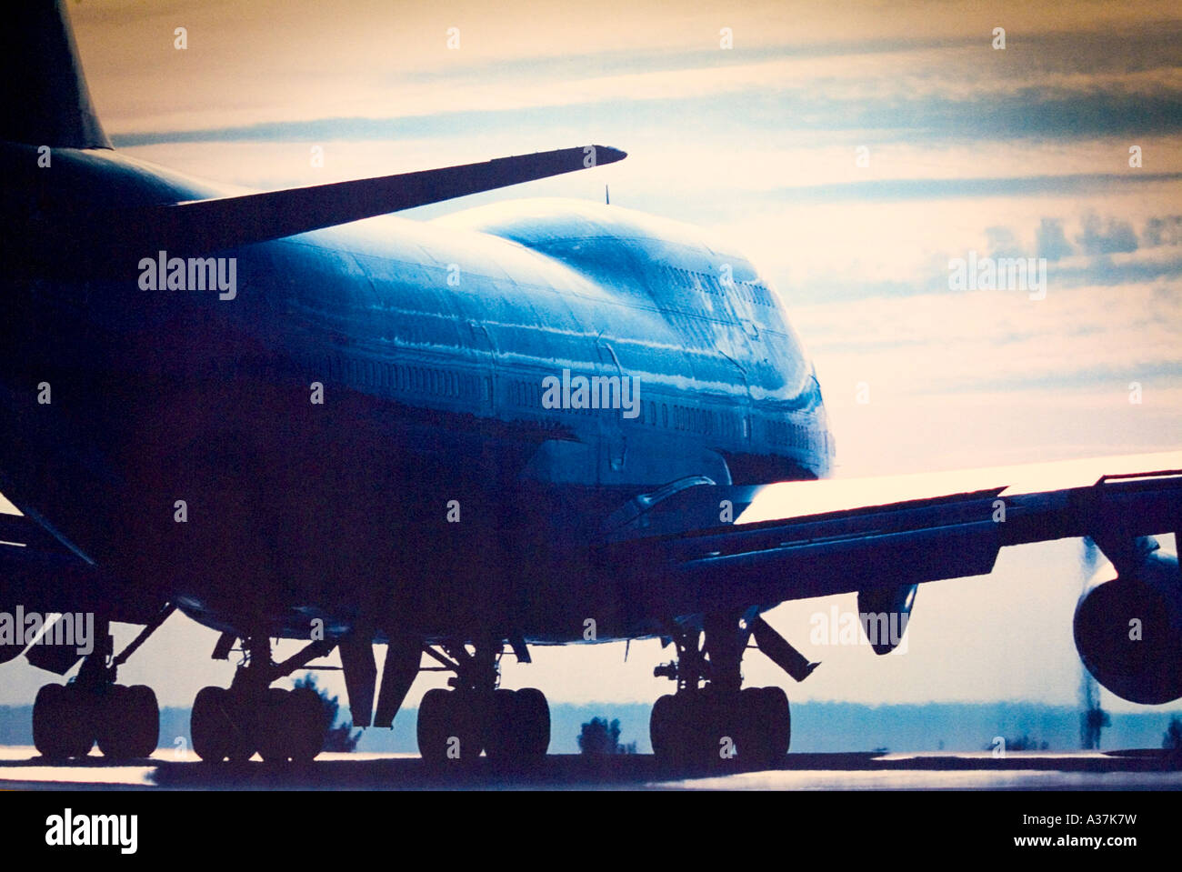 Reportage jet plane on runway photo digital copy airport wall photo Luxor Airport Luxor Egypt North Africa - Stock Image