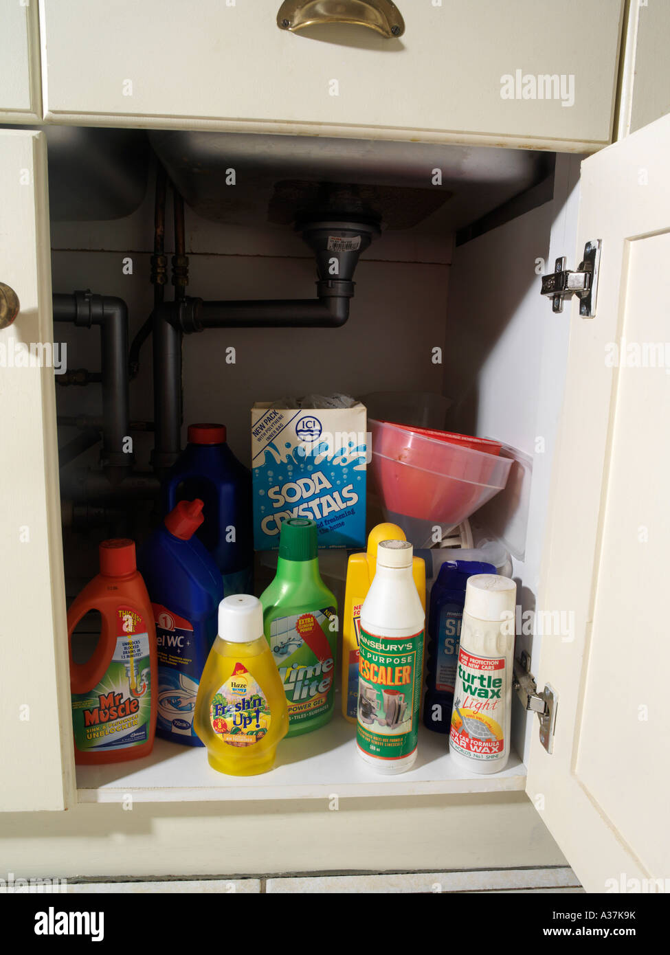 Various Toxic Cleaning Supplies underneath Kitchen Sink ...