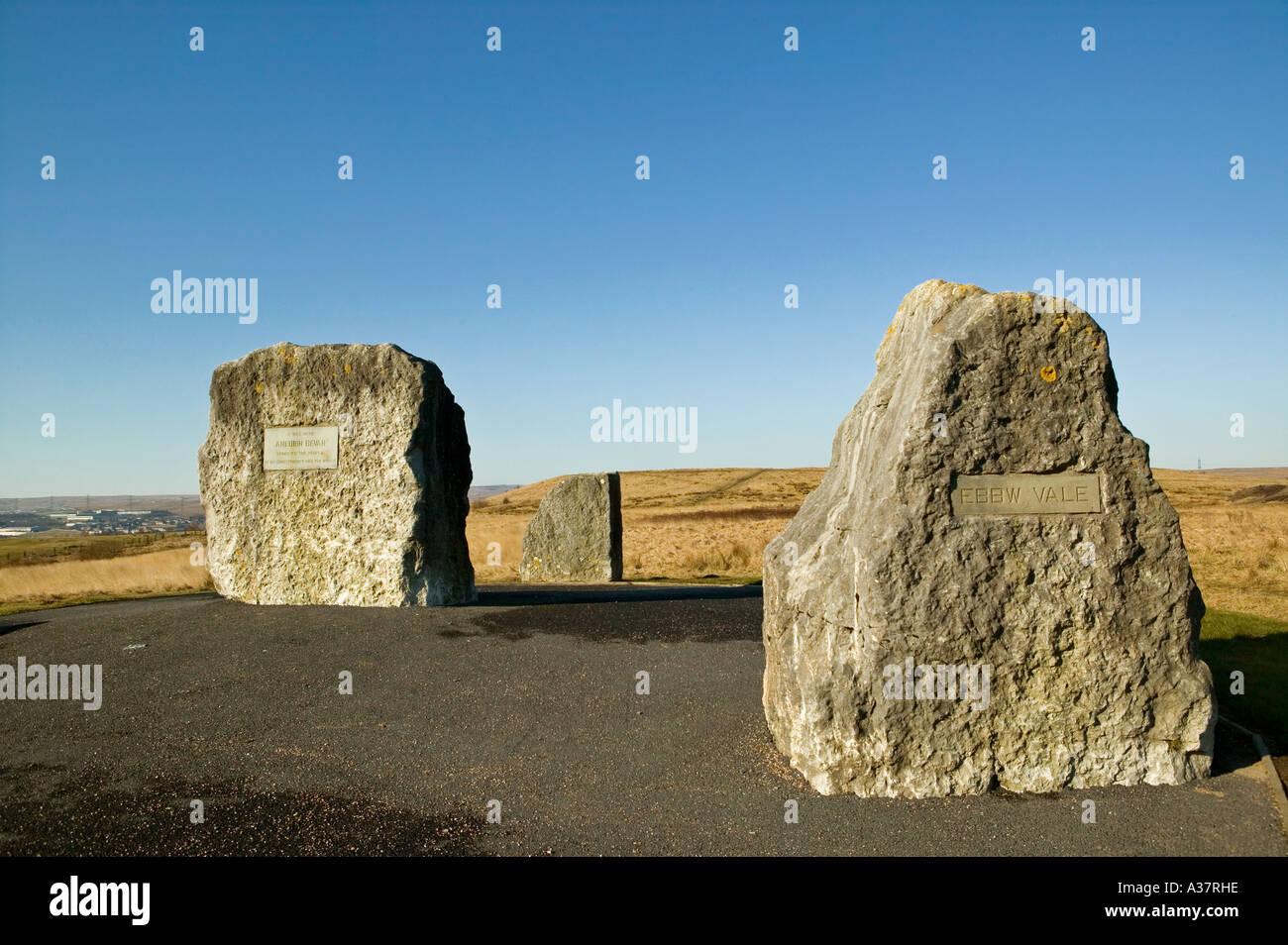 The Aneurin Bevan Memorial Stones at Bryn Serth near Ebbw Vale Wales UK - Stock Image