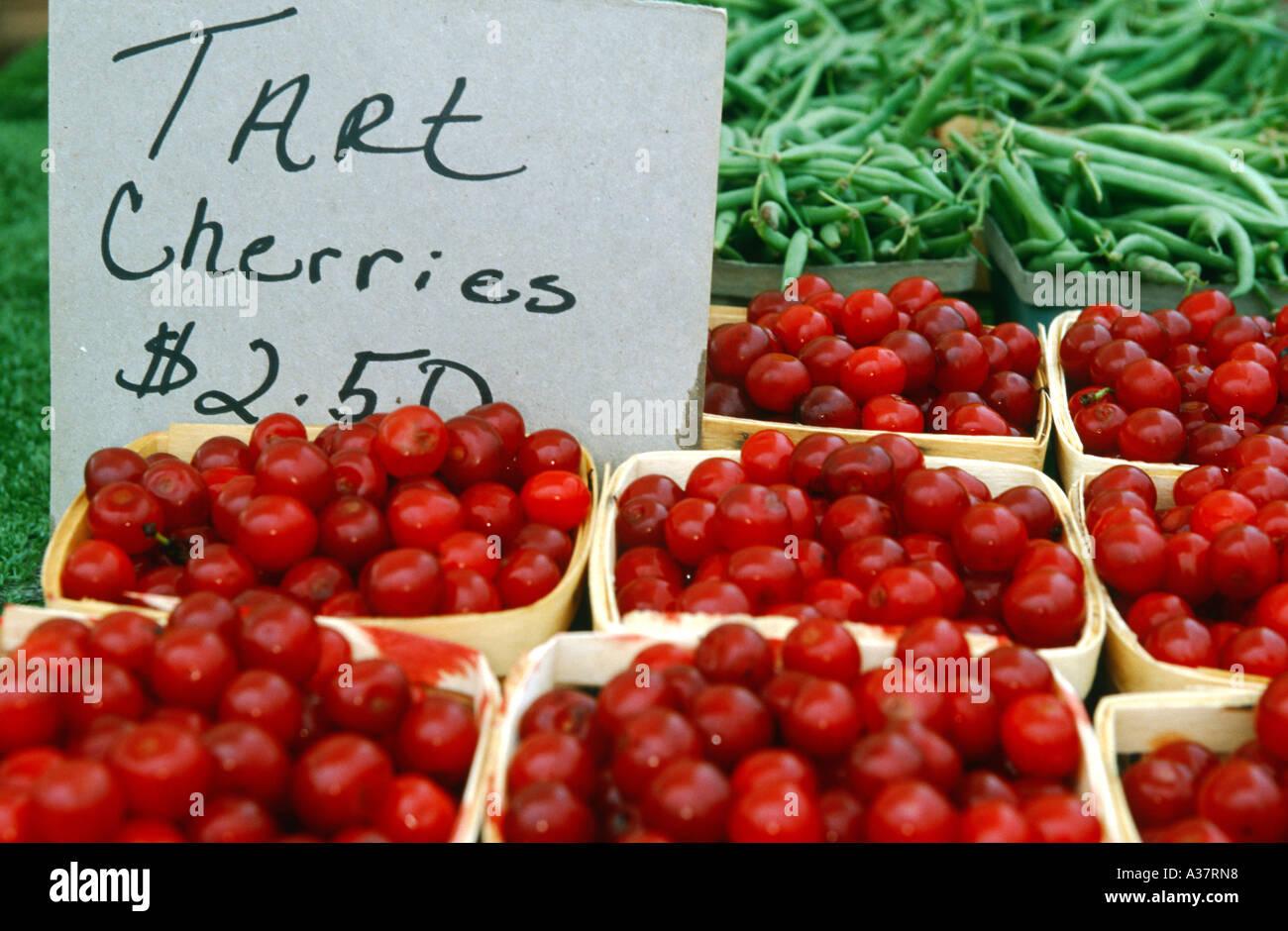 FRUIT Deerfield Illinois Pint baskets of tart Michigan cherries