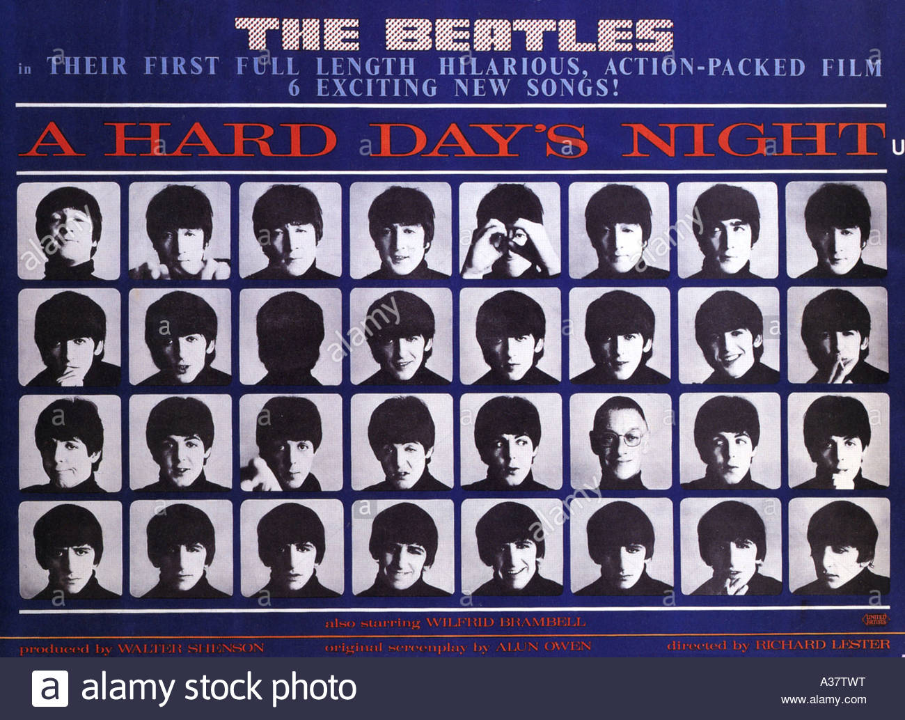 A HARD DAY'S NIGHT poster for 1964 UA film with the Beatles - Stock Image