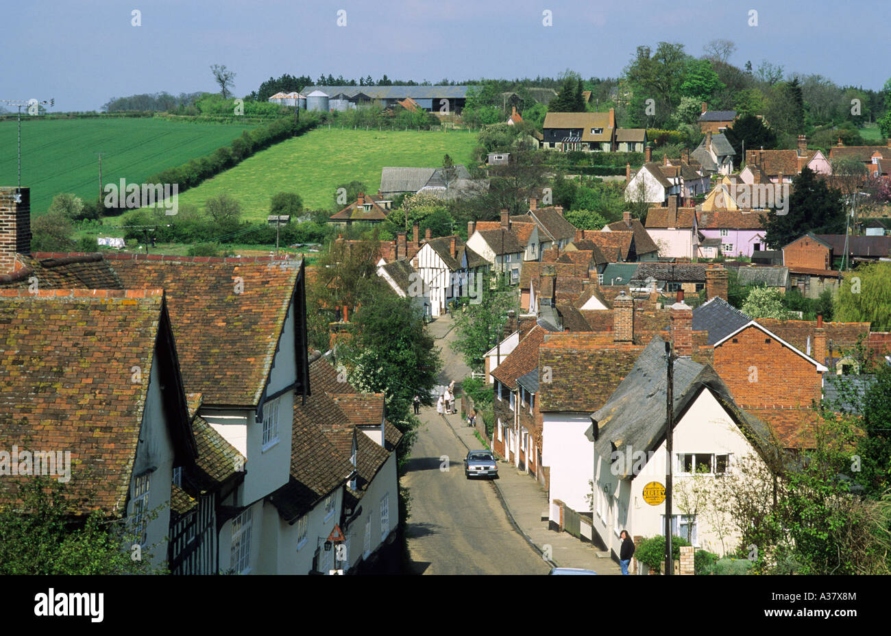 Kersey, Suffolk, view from churchyard, East Anglia, England, UK, village, English, street, charm, peace, quiet English - Stock Image