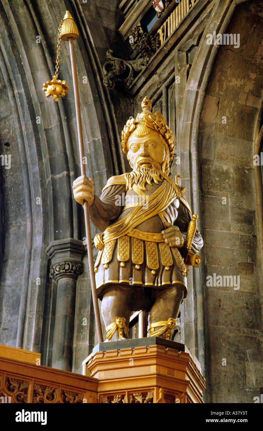 Gog Magog statuette statue gilt gilded figure The Guildhall London England UK - Stock Image