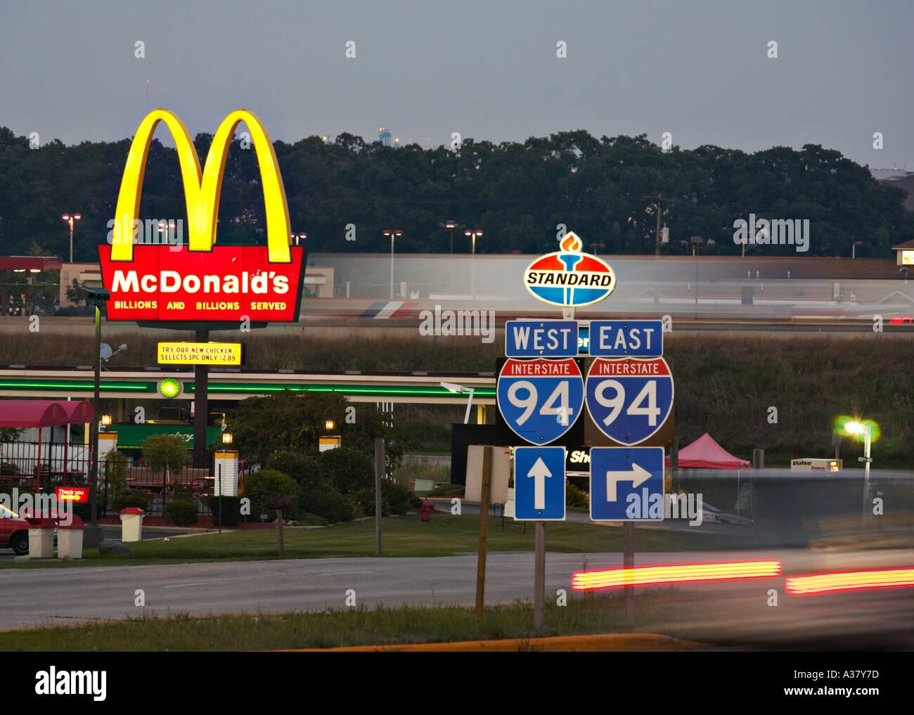 Wisconsin Kenosha Fast Food Restaurants Near Interstate Highway