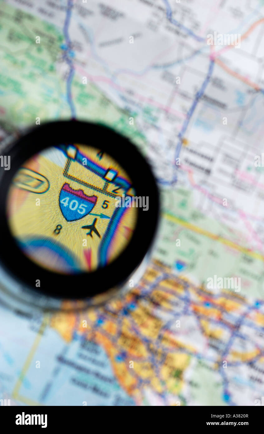 Map with Loupe - Stock Image