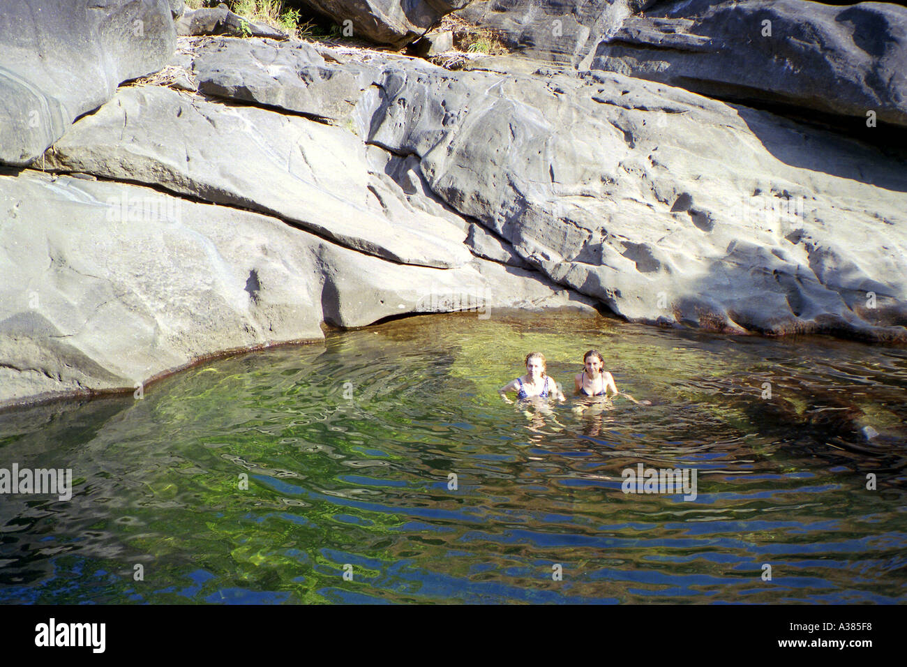 Swimming in Moon Valley in Chapada dos Veadeiros - Stock Image