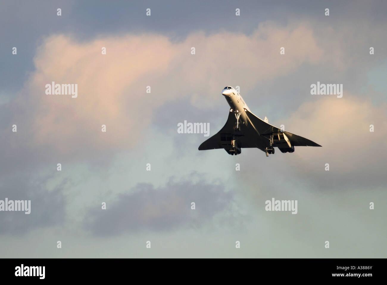 British Airways Aerospatiale-British Aerospace Concorde 102  landing at London Heathrow Airport for the last time - Stock Image
