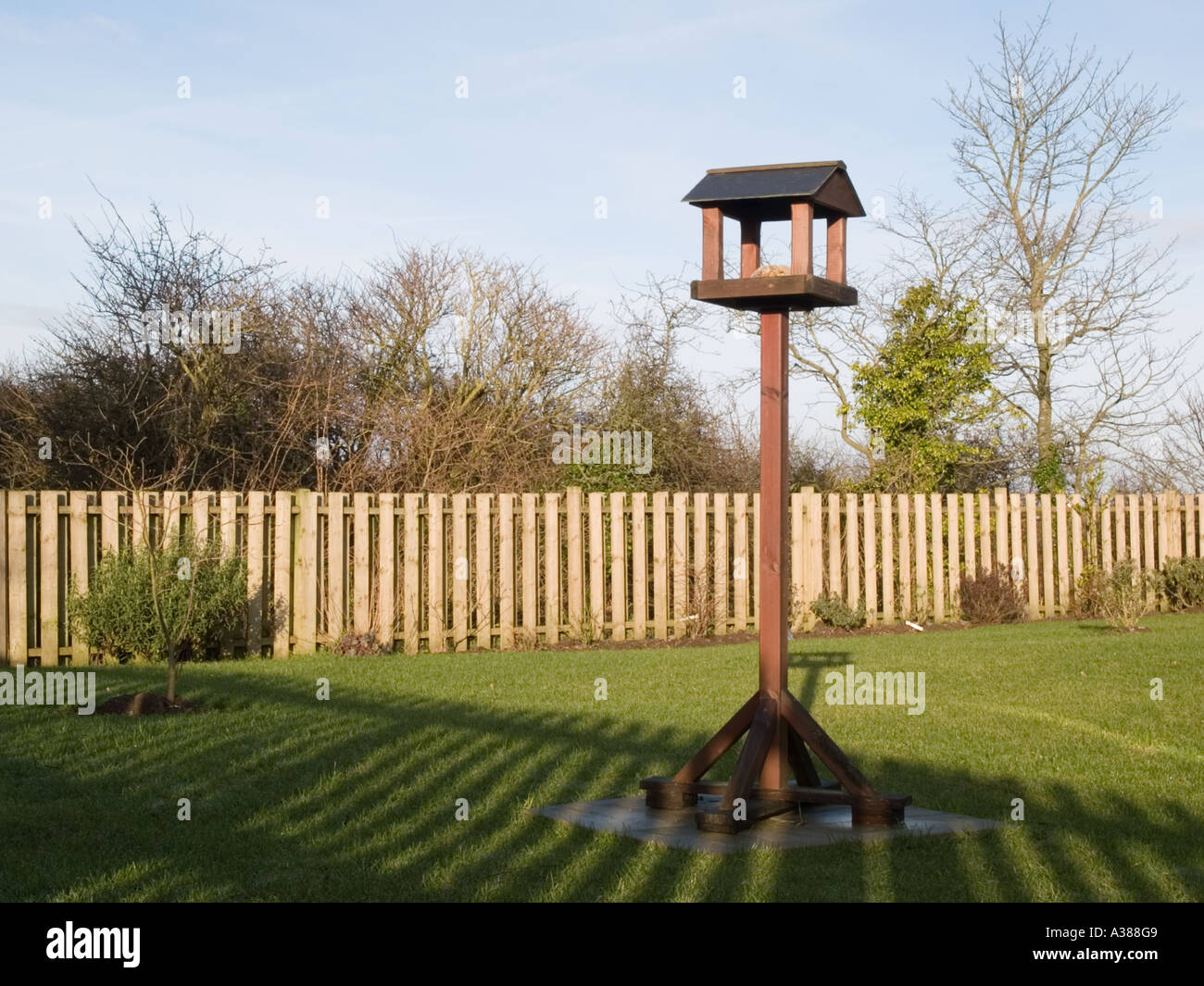 BIRD TABLE in a garden with fence shadow across lawn from low winter sun. Britain UK - Stock Image