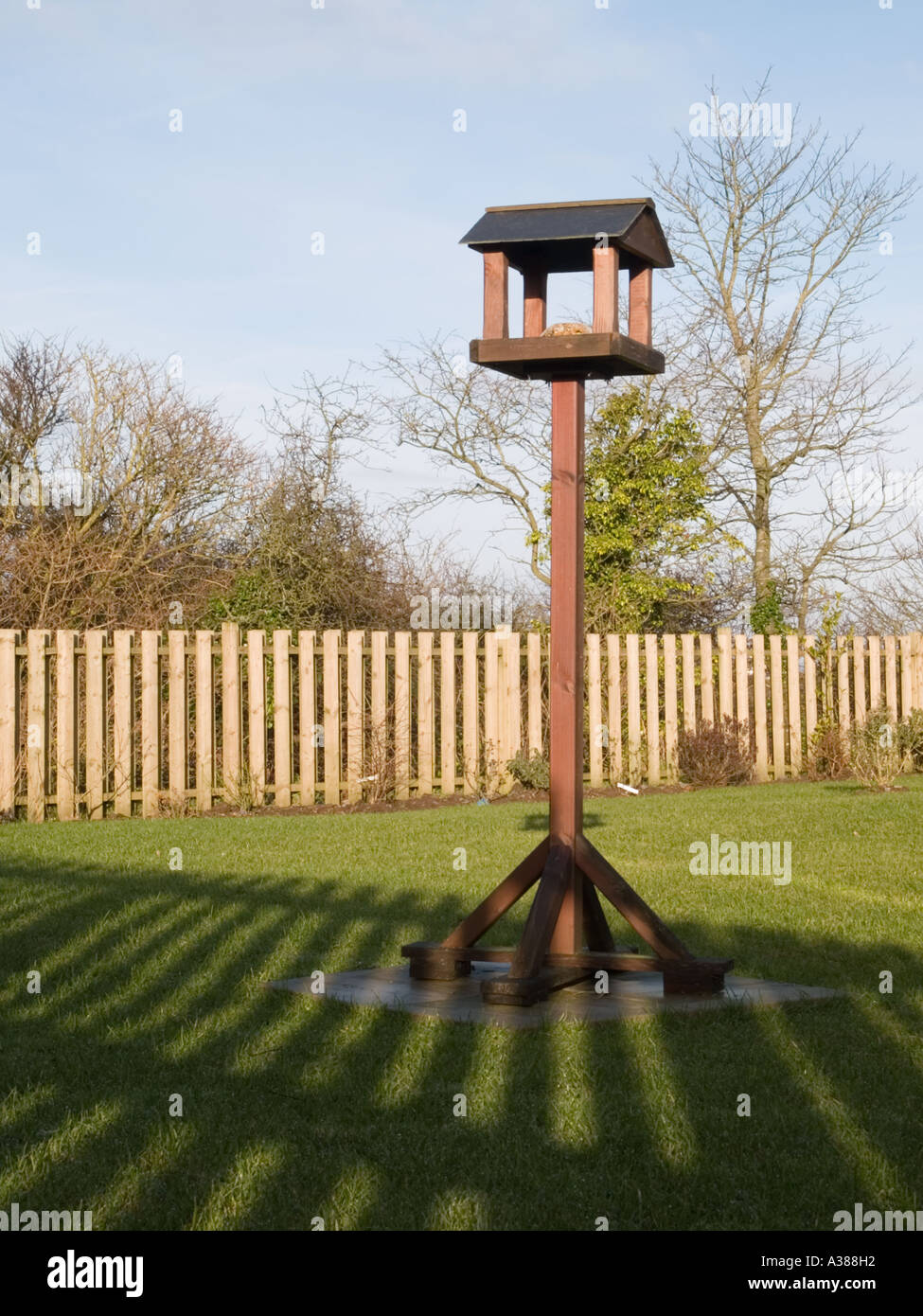 'BIRD TABLE' in a garden with fence shadow across lawn from low winter sunlight. Britain UK - Stock Image