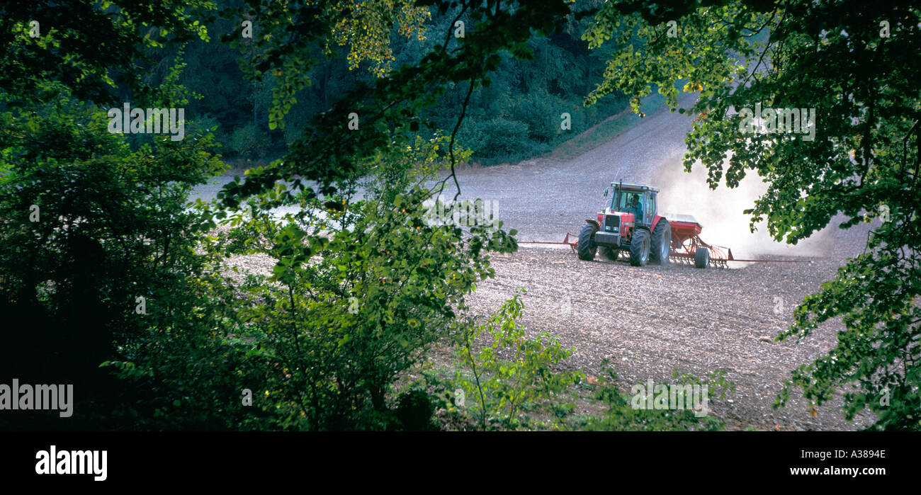 Tractor at work in the Chilterns England - Stock Image