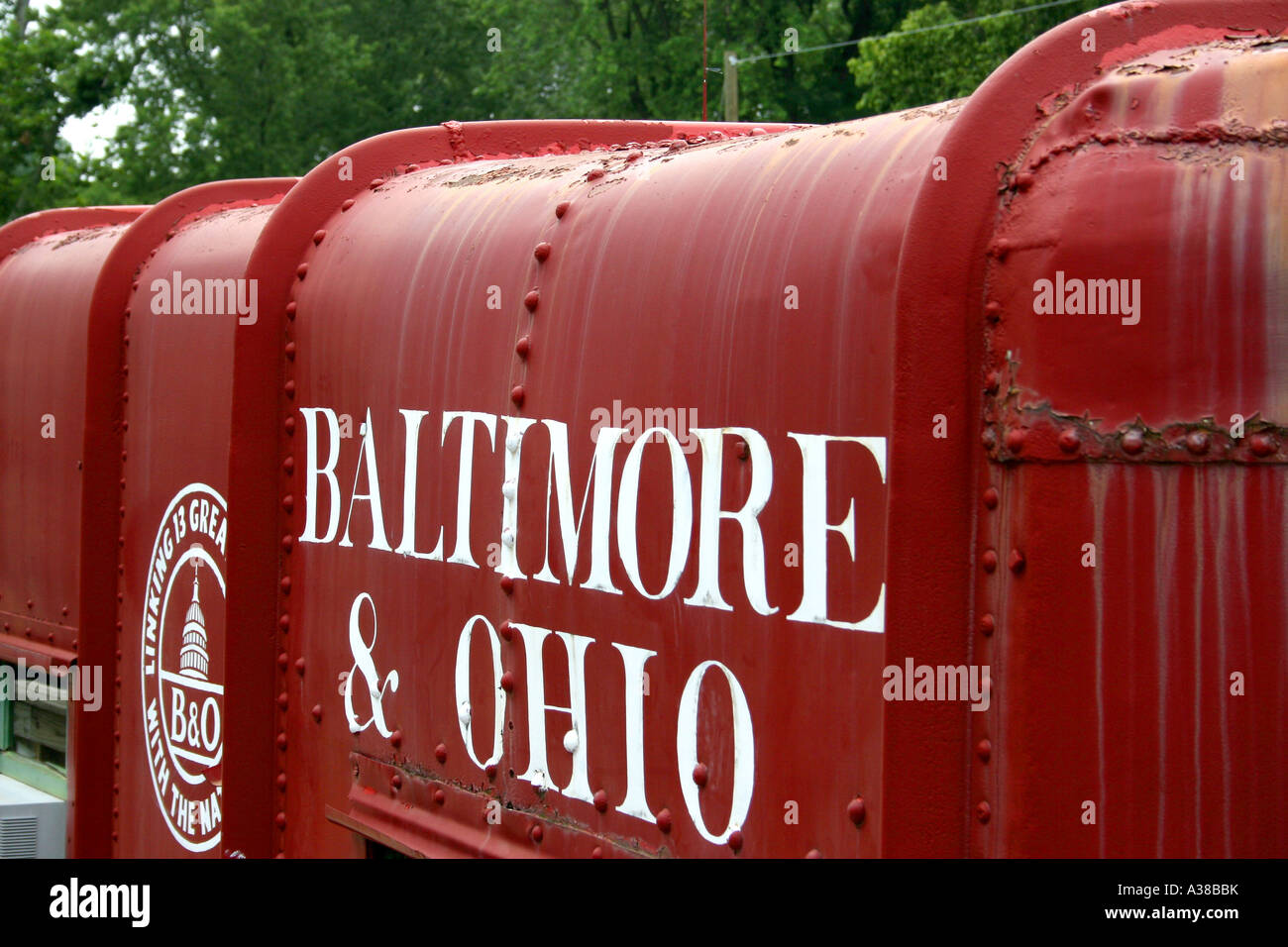 Restored Baltimore and Ohio Railroad Car in Levels West Virginia USA - Stock Image