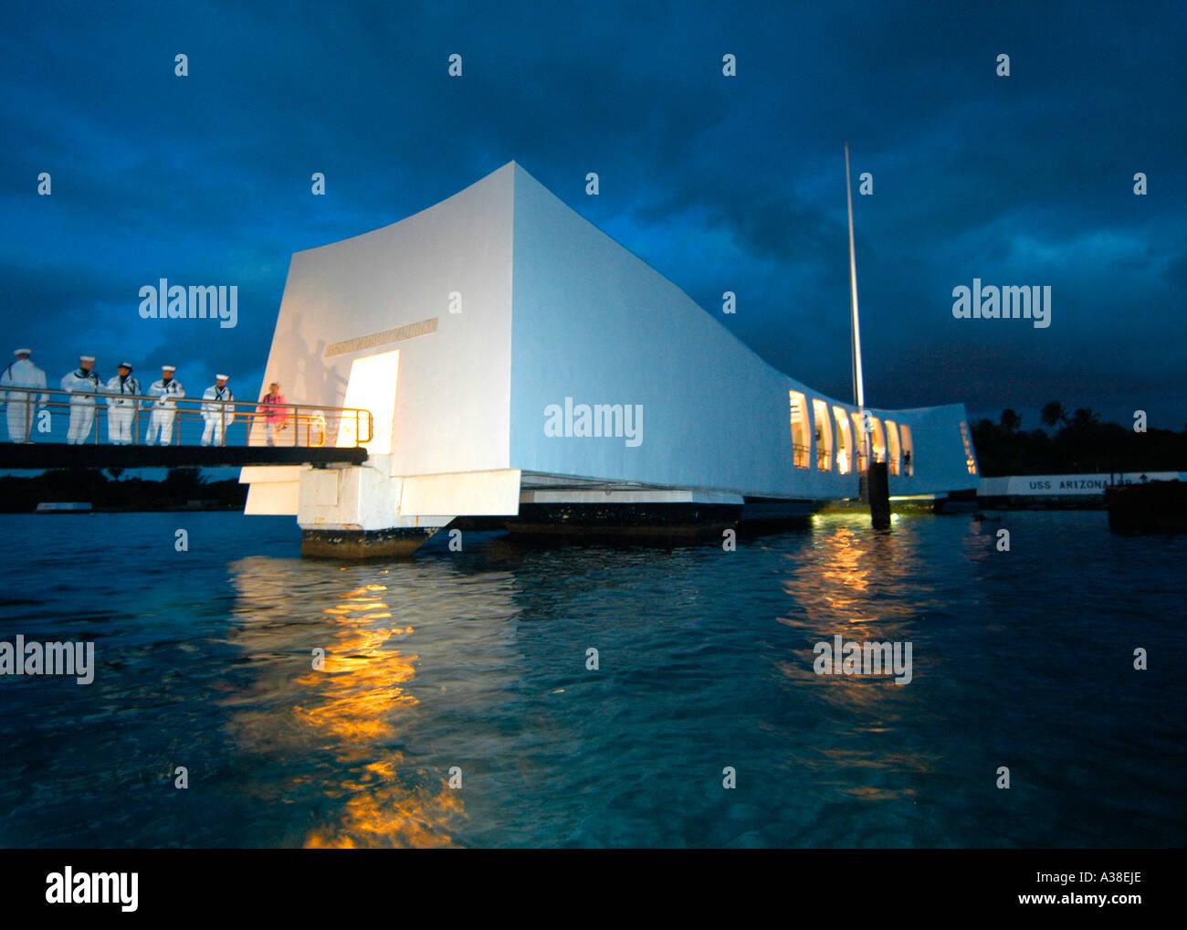 Arizona Memorial at Pearl Harbor, Hawaii Stock Photo