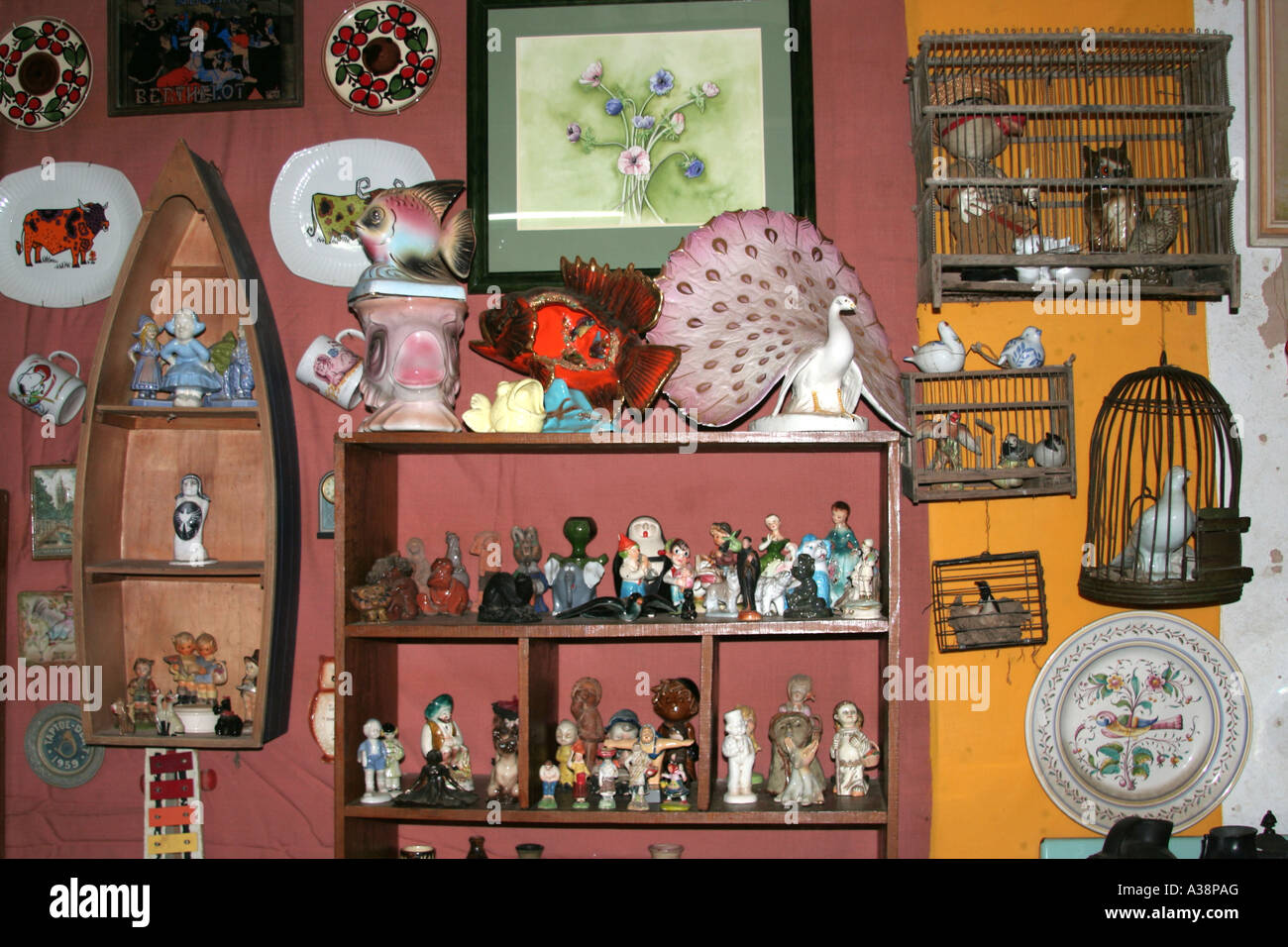 Collectibles at an Antique Shop Algarve Portugal - Stock Image