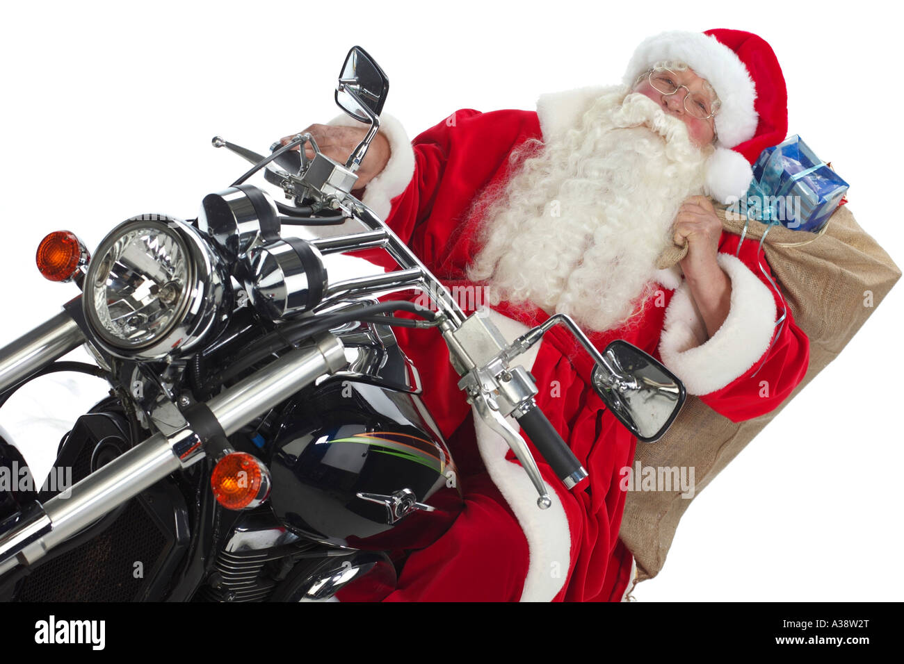 nikolaus auf einem motorrad santa claus riding motorbike. Black Bedroom Furniture Sets. Home Design Ideas