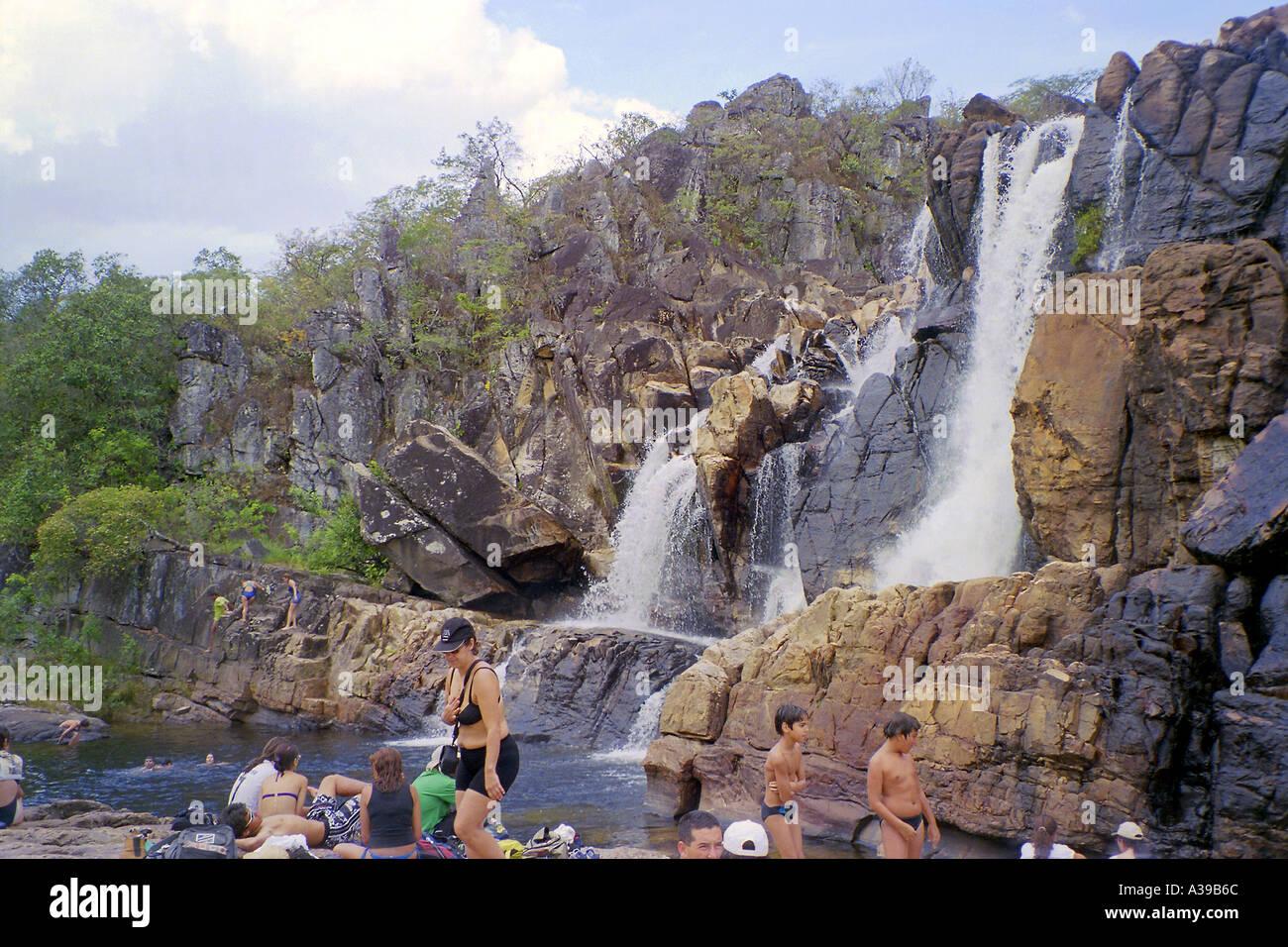 As Carioquinhas water fall in Parque Nacional da Chapada dos Veadeiros Stock Photo