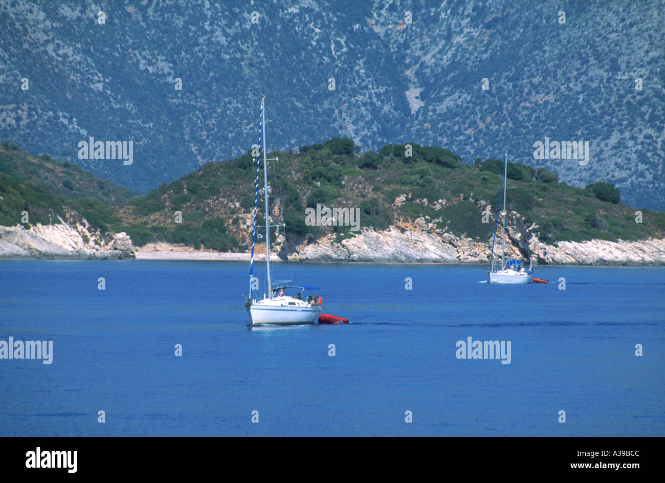 Sailing Boats on the med Ithaca - Stock Image