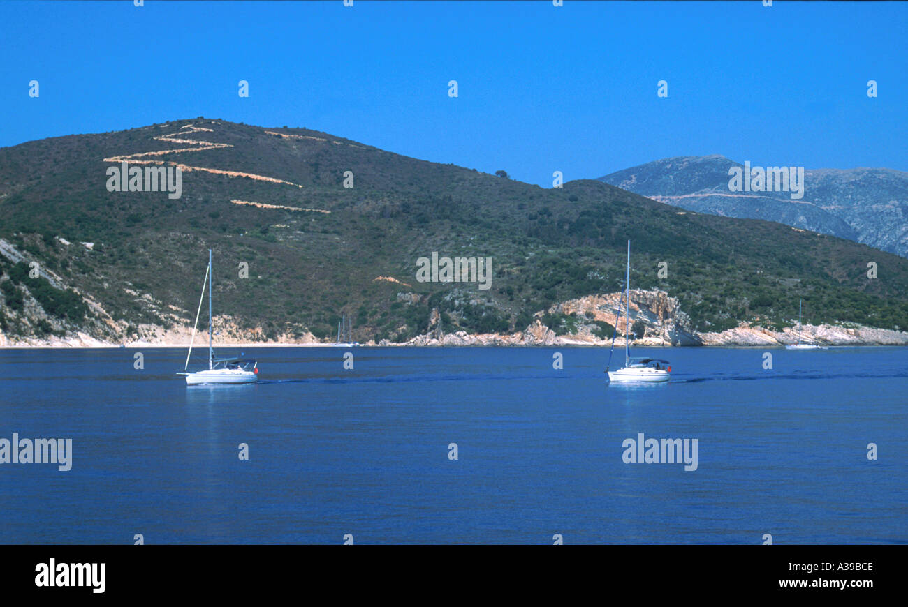 yachts sailing in the ionian sea Greece - Stock Image