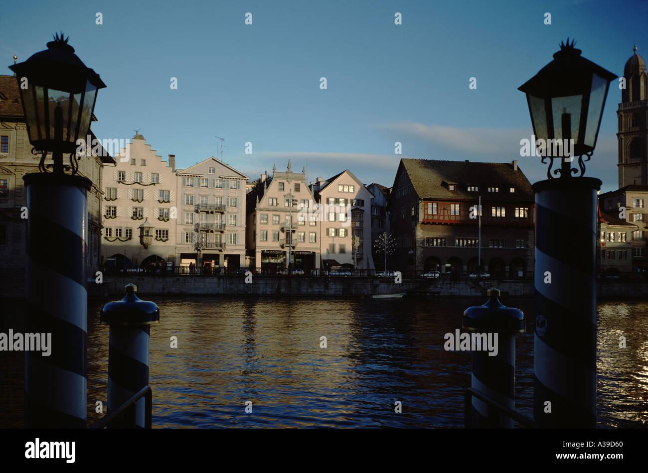 Street Limmatquai River of Limmat City of Zurich Downtown Canton of Zurich Switzerland - Stock Image
