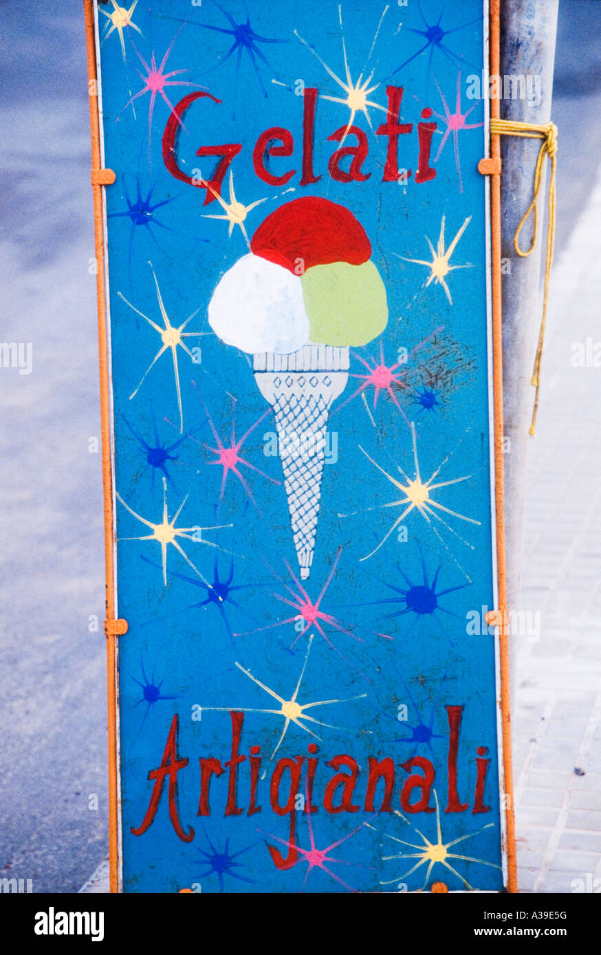 ice cream poster craft design colorful written white blue