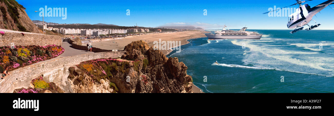 Pacifica State Beach South of San Francisco CA, Colorful Flowers, Helicopter, Cruise Ship, CGI Composite, Panorama - Stock Image