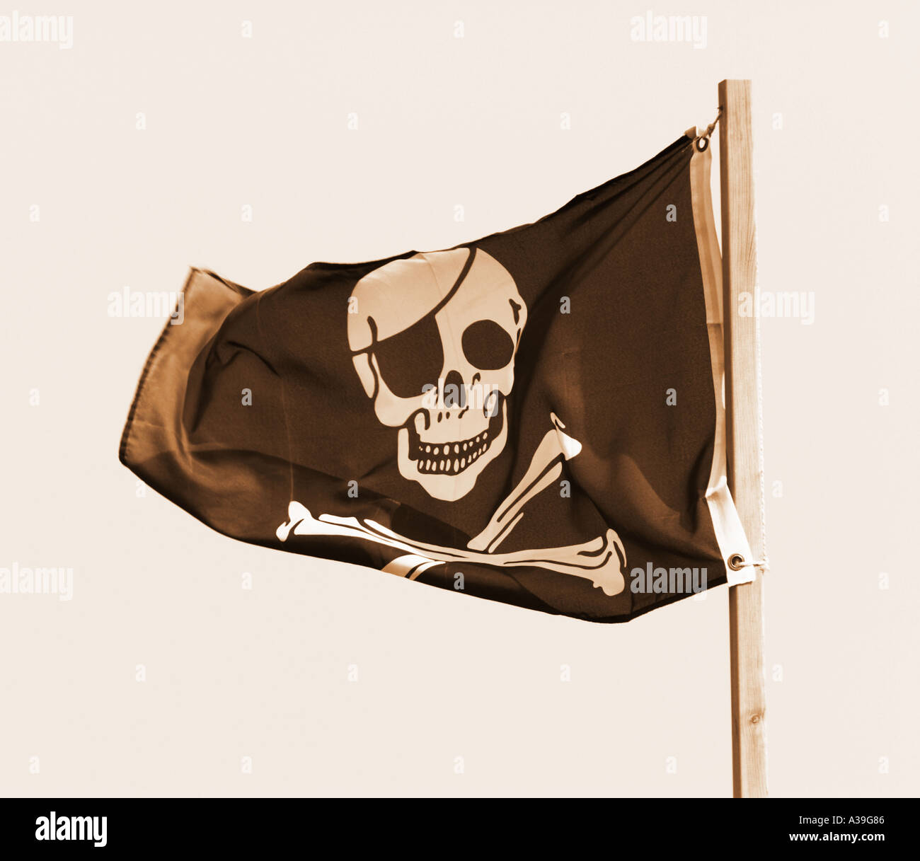 Skull and Crossbones Pirate Flag Jolly Roger - Stock Image