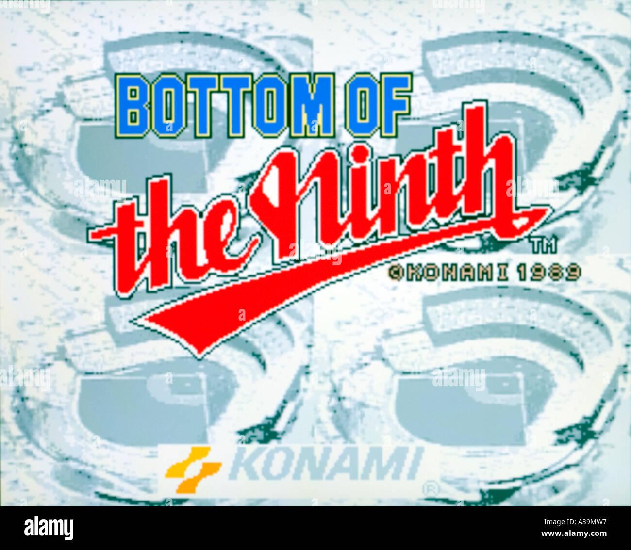 Bottom of the Ninth 9th Konami 1989 vintage arcade videogame screenshot - EDITORIAL USE ONLY - Stock Image