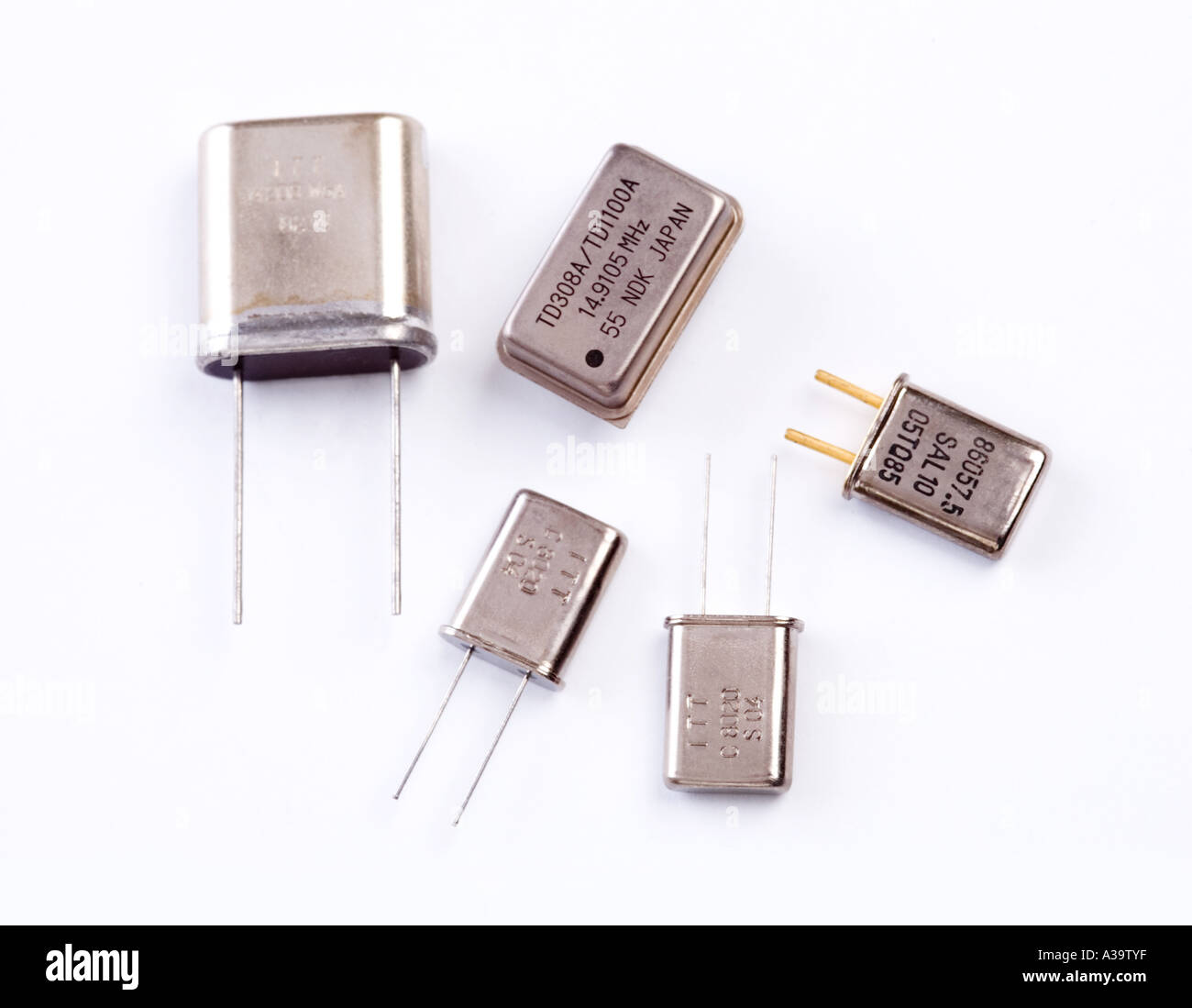 quartz crystals used to control frequency - Stock Image
