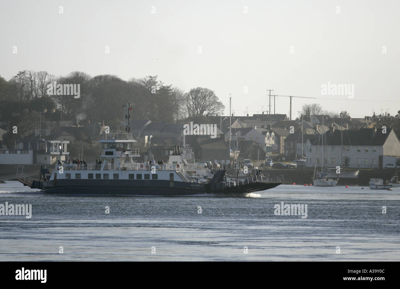 portaferry ferry crossing strangford lough county down northern ireland - Stock Image