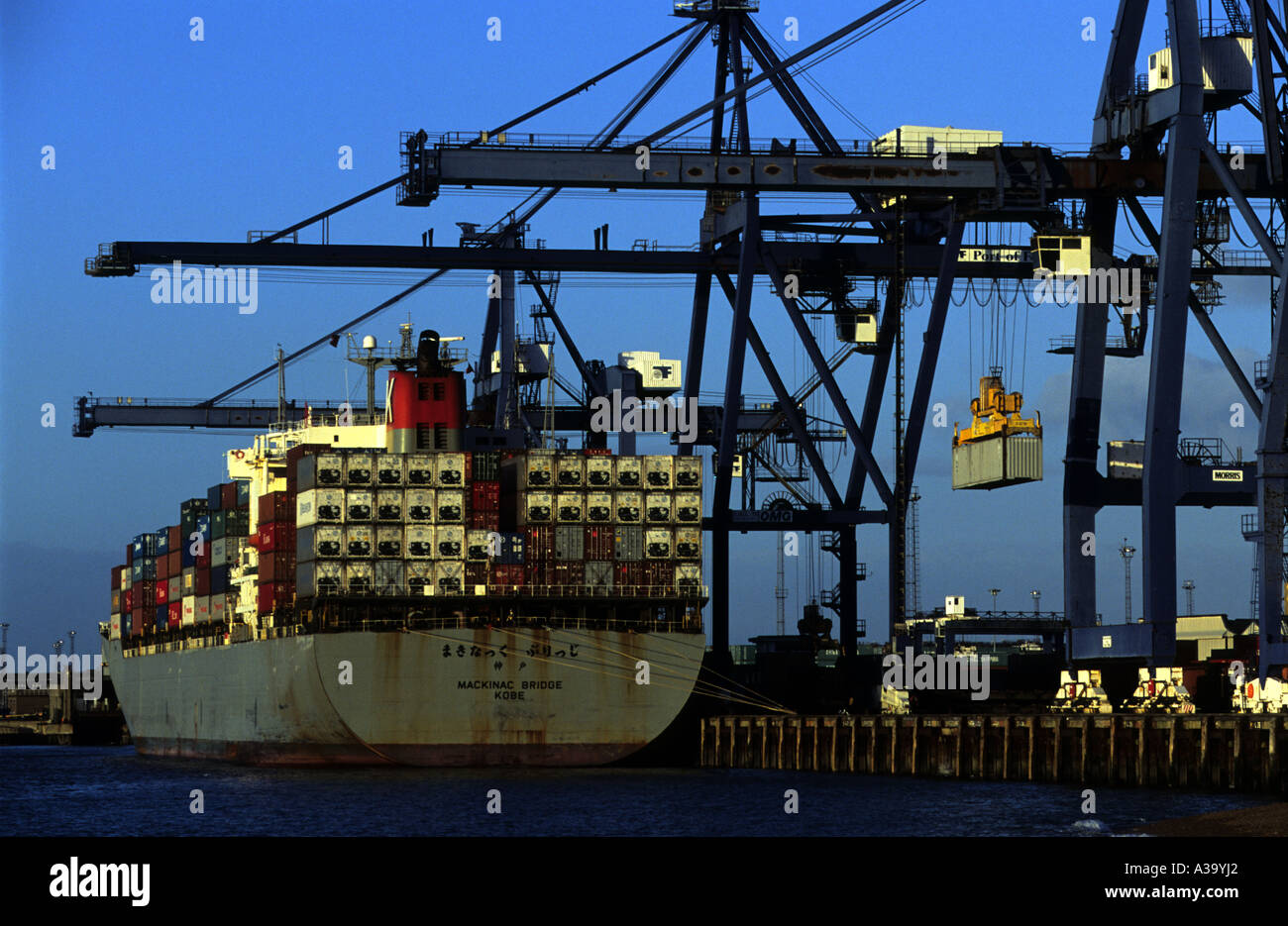 Landguard quay at the Port of Felixstowe in Suffolk, Britain's largest container port. - Stock Image