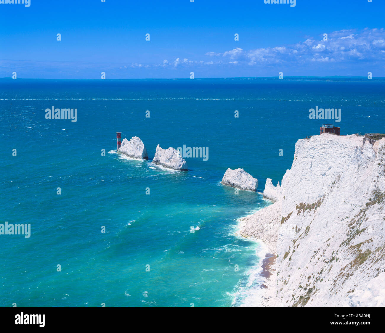 GB ISLE OF WIGHT THE NEEDLES AND OLD BATTERY - Stock Image